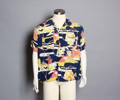 Vintage 40s Hawaiian rayon mens shirt