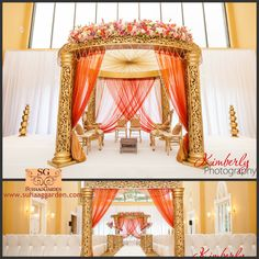 I like this gold Mandap but with a little more flowers #fusionmandap | Event Styling Decor: #suhaaggarden | Photographer: Kimberly Photography