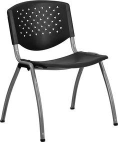 HERCULES Series 880 lb. Capacity Black Plastic Stack Chair with Titanium Frame, RUT-F01A-BK-GG by Flash Furniture | BizChair.com