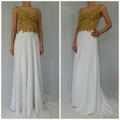 Gold Maxi Lace Chiffon Dress with Beads by MDSewingAtelier on Etsy