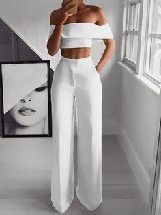 Product Sexy Bare Back Sloping Shoulder Sleeveless Pure Colour Suit Brand Name Naychic SKU Gender Women Item Type Suit Pattern Type Pure C Suit Fashion, Fashion Pants, Look Fashion, Fashion Dresses, Fashion Jumpsuits, Fashion Women, High Fashion, Womens Jumpsuits, Formal Fashion