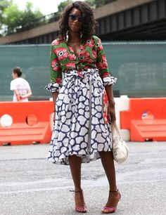 Not a curvy lady but so stylish. The mix of fabrics and print is wonderful.