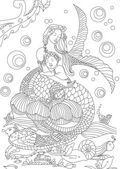 Free Beautiful Mermaid Adult Coloring Book Image From LiltKids See More