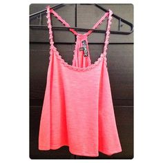 """Spotted while shopping on Poshmark: """"coral loose crop top tank with flower trim""""! #poshmark #fashion #shopping #style #Tops"""