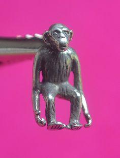 Vintage Sterling Silver, 3D Chimpanzee, Monkey, Charm / Pendant