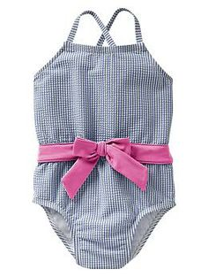 Navy Stripe seersucker one-piece and a pink bow! Yes Please! | Gap