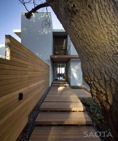 Outdoor Wooden stairs and wall