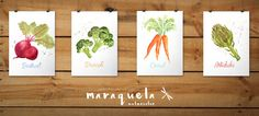 Art Print COMPLETE Set of 4 Vegetables Watercolor hand-made by Maraquela Watercolor