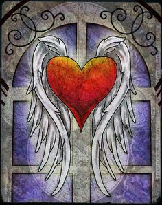 Tattoo ideas. Heart with angel wings.