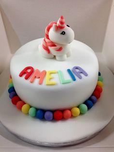 Unicorn birthday cake. Cute fondant / sugar paste unicorn. Fondant rainbow ball decoration.