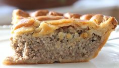 My grandmother used to serve when I was a youngster! I copied the recipe, and I have been enjoying French Meat Pie ever since. It's still delicious!   Ingredients: 1 lb ground beef 8 ounces ground pork 1⁄2cup onion, finely