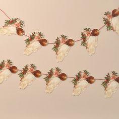 Garland – Santa Head - Friezes & Garlands - Mamelok Papercraft - Embossed, diecut Victorian scrap reliefs, cards, masks, cards, friezes, garlands, dress-up dolls