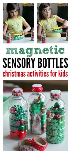 Christmas science activity for preschool. Magnetic sensory bottles are a fun activity for both sensory play and learning. Christmas science activity for preschool. Magnetic sensory bottles are a fun activity for both sensory play and learning. Christmas Activities For Kids, Preschool Christmas, Noel Christmas, Preschool Crafts, Christmas Themes, Autism Activities, Sensory Activities, Preschool Activities, Sensory Play