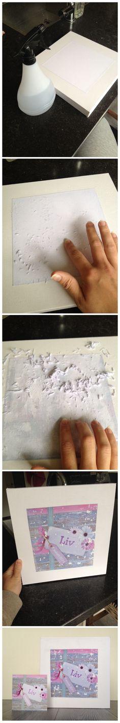 """Foto op canvas zelfgemaakt:  Canvas insmeren met """"Gel Medium""""  Foto uitprinten (let op spiegelbeeld) Foto op het canvas leggen en aandrukken. Goed inwrijven en een nacht laten drogen. Met de plantenspuit de foto nat maken. Vervolgens met je vingers het papier eraf wrijven. (Rullen) steeds een beetje verder. Goed nat houden! Hoe meer je wrijft hoe meer je de foto gaat zien! Voor het """"oude effect"""" mag de foto """"afbladeren"""". Aflakken met varnish en klaar!!"""