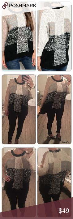 Long Sleeve Round Neck Multi Color Sweater Black, Mauve, Cream beautiful long sleeve cozy, warm sweater. Long enough to wear with tights. Covers the bottom. Longer in back then front Sweaters