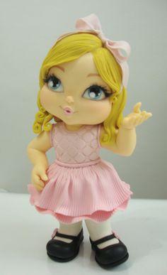 Girl porcelana fria polymer clay pasta francesa masa flexible fimo modelling modelado figurine cake topper