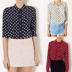 Women OL Chiffon Shirt Lapel Collar Heart Pattern Tops Long Sleeve Blouse