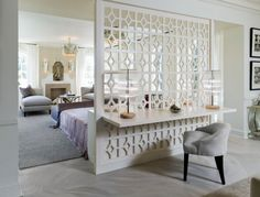 23 Clever Design Ideas Of Space Dividers For More Privacy in the Bedroom. Love this trellis!
