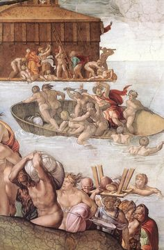 ❤ - MICHELANGELO BUONARROTI - (1475 - 1564) - Sistine Chapel - The Flood (detail). You are not allowed to take photos - please respect that. See how many of these you can find when you are there.