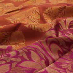 Shop from a wide range of exclusive silk saris in Orange colour. Rust Orange, Orange Color, Shapes And Curves, India Colors, Acanthus, Saris, Lush, Vines, Silk