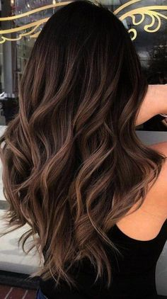 Long Wavy Ash-Brown Balayage - 20 Light Brown Hair Color Ideas for Your New Look - The Trending Hairstyle Brown Hair Balayage, Brown Hair With Highlights, Hair Color Balayage, Caramel Hair With Brown, Balayage Highlights Brunette, Mocha Brown Hair, Brown Hair With Lowlights, Dark Balayage, Chocolate Brown
