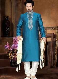 Observable Blue Wedding Wear Art Silk Kurta Punjabi Pajama