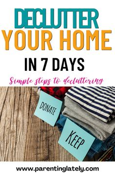 These decluttering ideas will help you declutter your home in 7 days.#decluttering tips #declutteringideas Cleaning Recipes, House Cleaning Tips, Simple House, Clean House, Declutter Your Mind, Todays Parent, Decluttering Ideas, Laundry Hacks, Make Your Bed