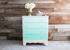 Sage to turquoise.Love this idea for a changing table/dresser. Wouldn't do ombre since her curtains are a coral ombre but i like the white dresser and blue drawers. Painted Vintage Mint Green Ombre Dresser Chest of Drawers Changing Table Shabby Chic Dresser, Pretty Bedding, Changing Table Dresser, Organization Bedroom, Furniture Inspiration, Bedroom Colors, Shabby Chic Furniture, Decorating Your Home, Mint Green Bedroom