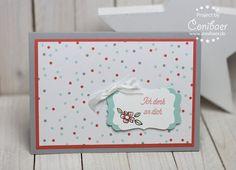 """www.conibaer.de Schlichte Karte mit Spruch """"Denk an dich"""" und kleiner Blume #basteln #stempeln #grußkarte #selbstgemacht #handgemacht / Card with a small """"Thinking of you"""" sentiment and a little flower on a tag #papercrafts #stamping #handmade #diy"""