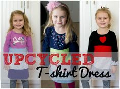 DIY Sewing Tutorials | Upcycle t-shirts into a dress! This is the perfect way to make an adorable holiday outfit without spending a lot!