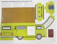 1974 Volkswagen Bus Westfalia Campmobile Cardboard Dealer Model, what a cool thing to have survived the decades! Paper Model Car, Paper Car, Paper Plane, Old Paper, Paper Models, Cardboard Toys, Paper Toys, Imprimibles Toy Story Gratis, Diy Gift Box