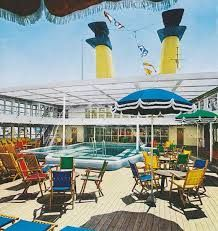 Lido pool aboard the Eugenio C. Seafarer, Vintage Travel, Interior Styling, Costa, Aviation, Cruise Ships, Cruises, Classic, Google
