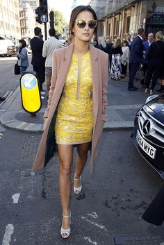Lucy teamed the season's must-have camel coat with a yellow lace minidress to attend the Julien Macdonald show during London Fashion Week in September Fashion Photo, Love Fashion, Girl Fashion, Fashion Outfits, Fashion Beauty, Chelsea Girls, Made In Chelsea, Cute Spring Outfits, Cool Outfits