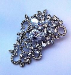 Fashion Jewellery Large Size Muticolor Crystal Rhinestone Flower Brooches and Pins For Wedding Bouquet