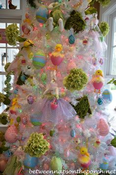 Easter Tree-Between Naps on the Porch! Family and friends time! decorating tree Kitchen Decorated for Easter Easter Tree Decorations, Easter Wreaths, Easter Decor, Easter Ideas, Holiday Tree, Holiday Fun, Christmas Trees, Bohemian Christmas, Prim Christmas