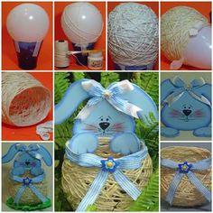 DIY Yarn String Easter Basket #DIY #craft #Easter