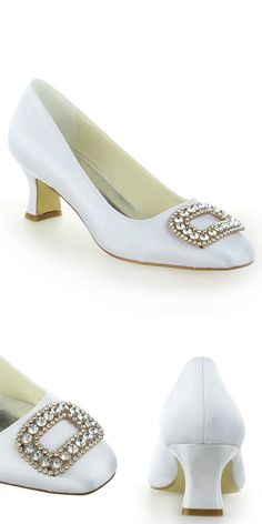 Chic Satin Upper Closed Toe Chunky Heels Bridal Shoes With Rhinestones 2a13ea20b613