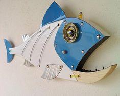 Handmade Fish ,Sea Turtle wall Art Sculptures and More by Unikos Fish Sculpture, Wood Sculpture, Wall Sculptures, Wood Fish, Metal Fish, Fish Wall Art, Fish Art, Steampunk Theme, Seaside Art