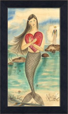 """Romantically Inspired 11"""" x 18 1/2"""""""" black bevel-framed dark haired mermaid with a large red heart waiting for her Valentine!"""