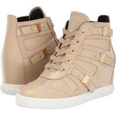 Pierre Balmain Cut Out Wedge Sneaker (Beige) Women's Wedge Shoes (520 CAD) ❤ liked on Polyvore featuring shoes, beige, hidden wedge shoes, strappy shoes, lace up shoes, round toe shoes and wedges shoes