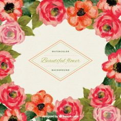 Watercolor flowers background Free Vector
