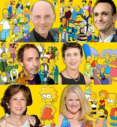 The faces behind The Simpsons. Dan Castllenetta. Hank Azaria. Harry Shearer. Julie Kavner. Yeardley Smith. Nancy Cartright.