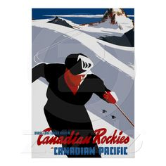 Canadian Rockies ~ Vintage Snow Skiing Travel Poster at Zazzle.ca