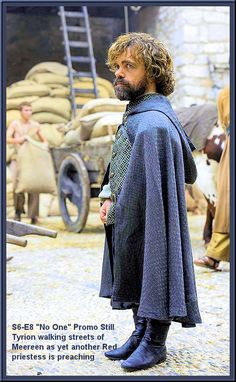 "S6-E8 ""No One"" Promo Still -- Due to Air: 12 Jun 2016 -- Tyrion walking streets of Meereen as yet another red priestess is preaching -- Edit: T. Richards"