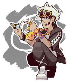 Guzman, Team Skull Leader! Pokemon Sun and Moon fan art by Vodkatune