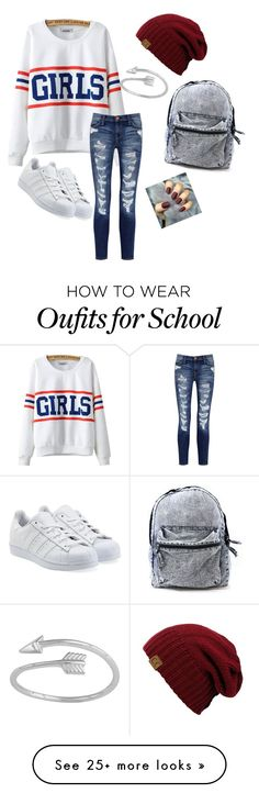 """Fashion at school"" by amyroose on Polyvore featuring Chicnova Fashion, Current/Elliott and adidas Originals"