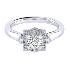 Gabriel & Co 14k White Gold Perfect Match Straight Engagement Ring