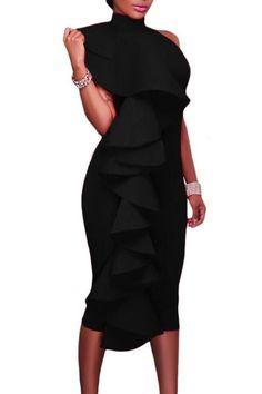 Black Halter High Neck Ruffled Backless Midi Party Dress with Back Slit MB61624-2 – ModeShe.com