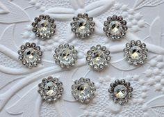 Acrylic Clear Rhinestone Buttons 11 mm  by SomethingNewSupplies, $10.00