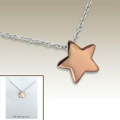 #Silver #necklace with gold plated star pendant incl. display card - 17043